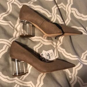 NEW Zara Clear Block Heeled Heels Nude Size 40